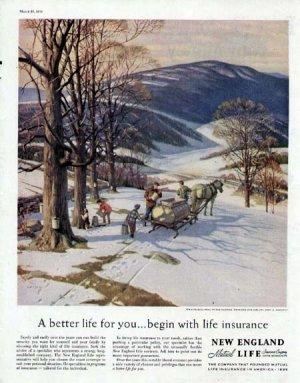 1959 New England Life Print Ad-Maple Sugar Syrup Making Winter