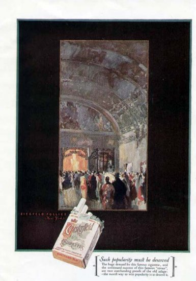 1925 Chesterfield Cigarettes Ad-Ziegfeld Follies NY