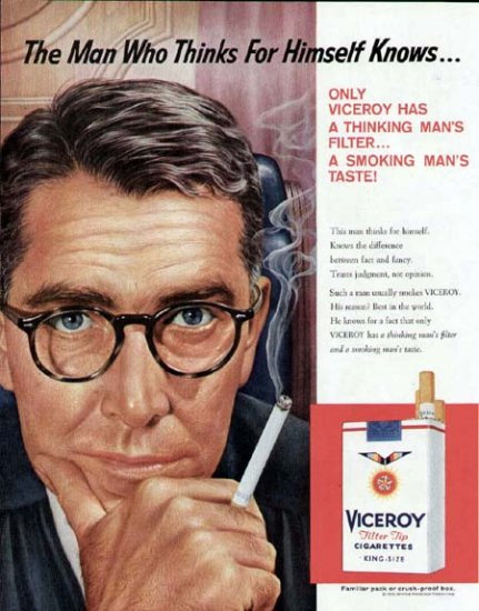 1959 Viceroy Cigarettes Print Ad-Man Who Thinks for Himself