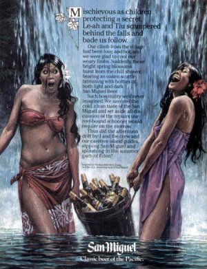 1981 San Miguel Beer of the Pacific Print Ad-Girls Waterfall