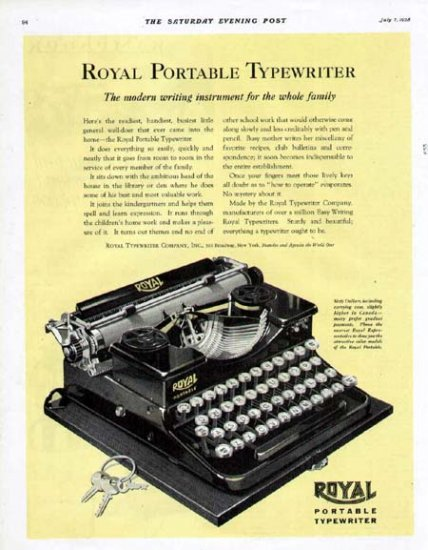 1928 Royal Portable Typewriter Print Ad-Sixty Dollars Will Buy
