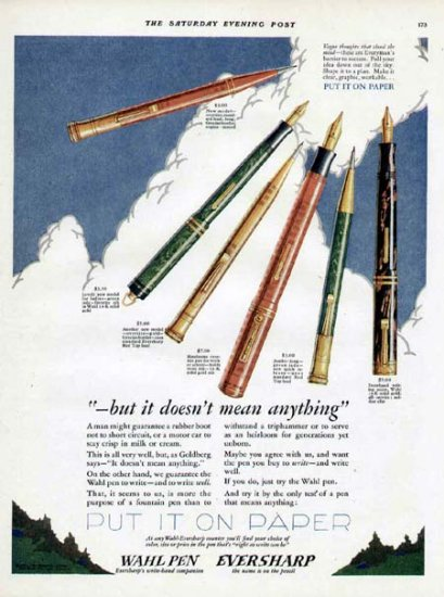 1927 Wahl Fountain Pen Vintage Color Print Ad-3 Pens 2 Pencils