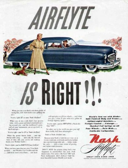 1949 Nash Airflyte Vintage Print Car Ad-Blue Color