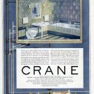 1926 Crane Bathroom Plumbing Print Ad-Blue 1920's Design
