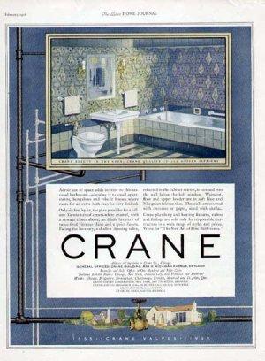 1926 Crane Bathroom Plumbing Print Ad-Blue 1920's Design