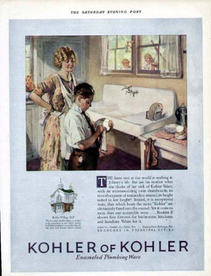 1925 Kohler Kitchen Sink Print Ad-Boy Dries Dishes