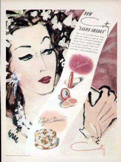 1943 Coty Cosmetics Make-Up Print Ad-Salon Shades Cafe Creme