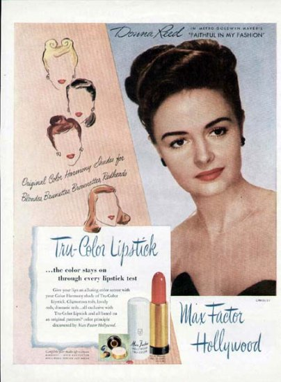 1946 Max Factor Hollywood Lipstick Print Ad-Donna Reed
