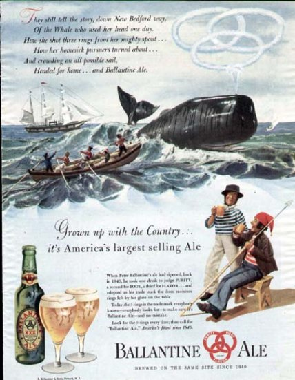 1947 Ballantine Ale Vintage Print Ad-New Bedford Whale Whaling