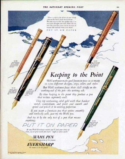 1927 Wahl Fountain Pen Vintage Color Print Ad-3 Pens 2 Pencils