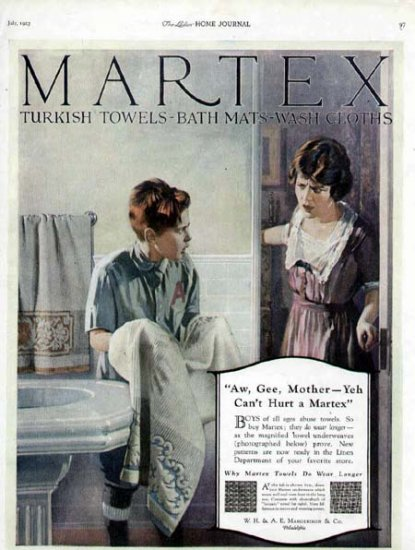 1923 Martex Turkish Towel Vintage Print Ad-Boy Washes Dirty Face