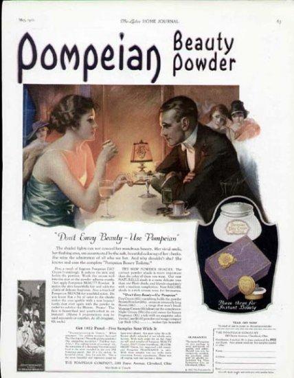 1922 Pompeian Beauty Powder Vintage Print Ad-Don't Envy Beauty