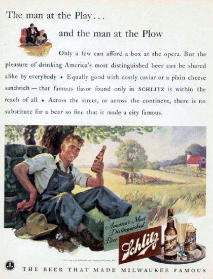 1941 Schlitz Beer Print Ad-Farming Plowing Wheat Field Farmer
