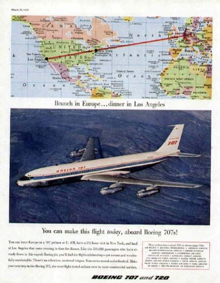 1959 Boeing 707 Aircraft Vintage Print Ad-Brunch in Europe