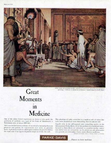 1959 Parke-Davis Pharmaceutical Print Ad-Code of Hammurabi