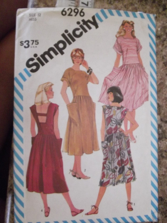 Vintage Simplicity pattern 6296 SZ 12 Uncut from 1983
