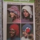 Simplicity Pattern 5284 Crochet Hats 1972