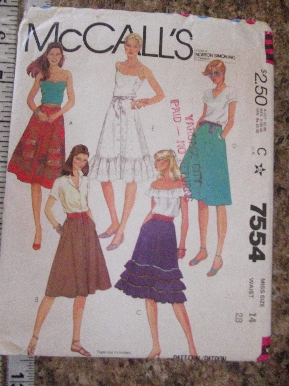 Vintage McCalls pattern 7554 size 14