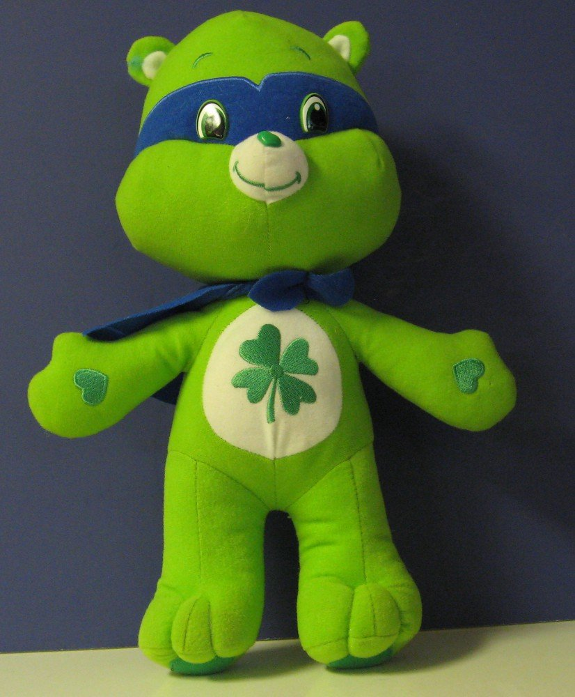"Care Bears Good Luck Bear - Super Hero In Cape and Mask - 14"" - Nanco 2009"