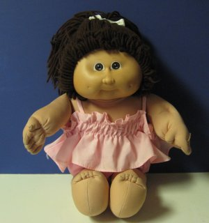 """Cabbage Patch Kids 16"""" Girl Doll in Pink 2 Piece Pajamas Outfit - 1985 Vintage - Coleco"""