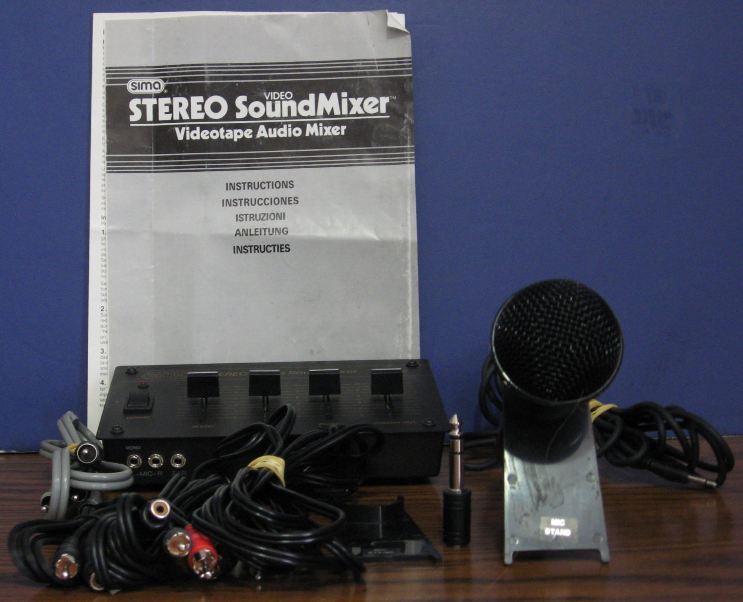 Sima Stereo Video Sound Mixer SSM-2 Bundle - With Microphone and Cables - 1989 Vintage