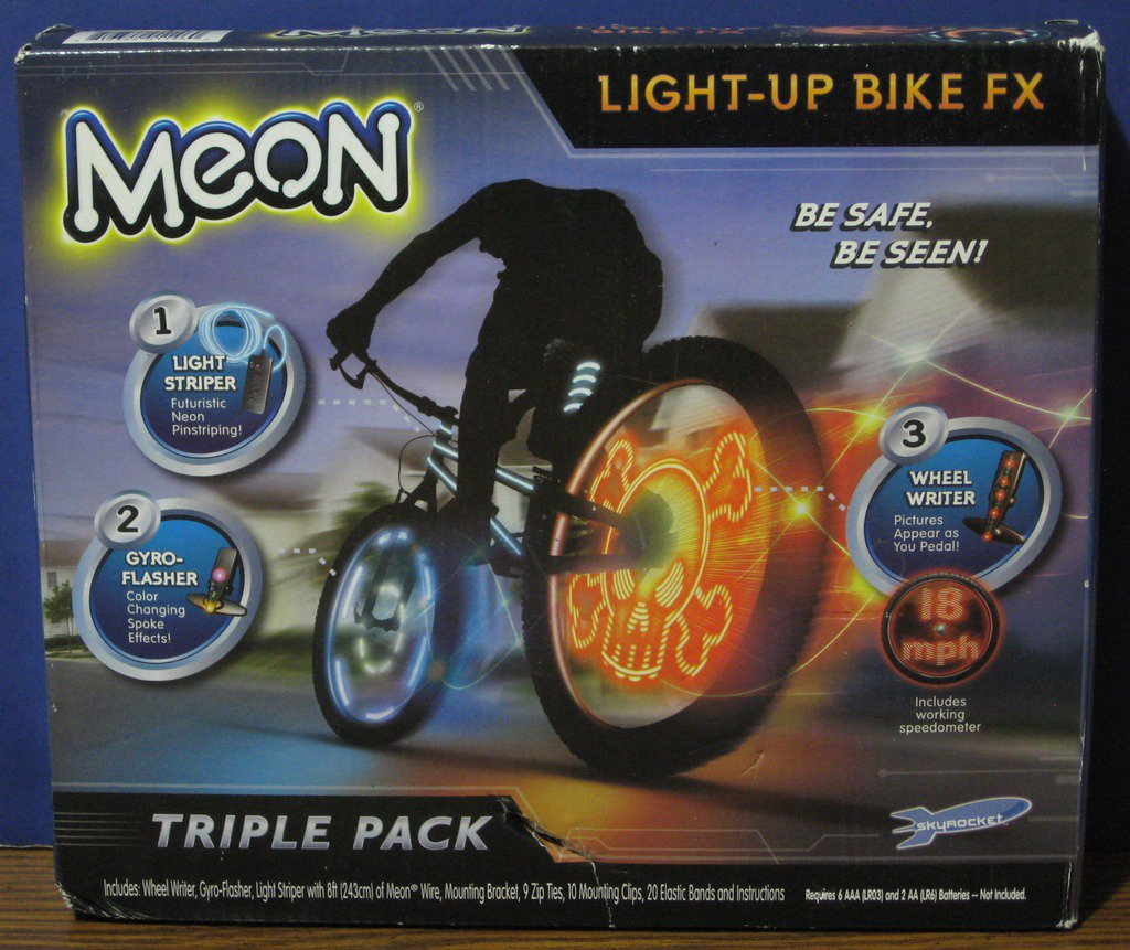 Meon Light Up Bike FX Triple Pack Night Riding Safety Kit - New in Damaged Box