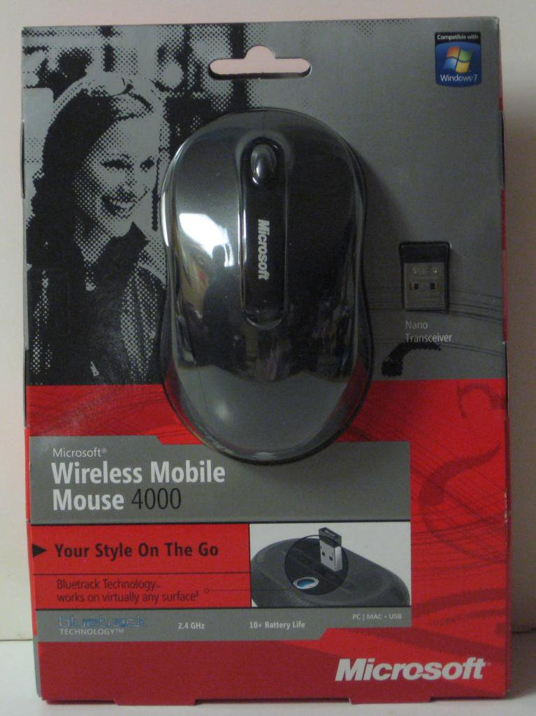 Microsoft Wireless Mobile Mouse 4000 - Black - New - BlueTrack Tracking