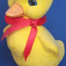 "Yellow Flocked Ceramic Duck - 5"" Tall - 1990s Vintage Duckling"