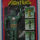 Space Fighters Vinyl Green Spaceman - Imperial Toys 1977 Vintage Damaged Card