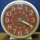Westclox Analog Alarm Clock Round White - Sienna / Brown Face - 1970s Vintage