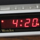 Westclox Red LED Electronic Alarm Clock 66703 - Battery Backup - 1990s Vintage