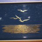 "Otagiri Blue Lacquer Plastic Tray Gold Seagulls Over Ocean 7 1/2"" x 5 1/4"" 1970s"