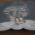 "Shiny Metal Western Cowboy Belt Buckle - Saddle Design - 3 1/4"" x 2"""