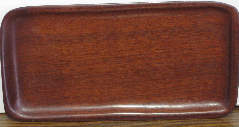 "Caribcraft Small Mahogany Wood Serving Tray - 8.5"" x 4.25"" 1970s / 1980s Vintage"