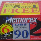 Audio Cassette Tape - Memorex DBS90 Normal Bias 90 Minute 6 Pack