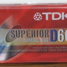 Audio Cassette Tape - TDK Superior D60 60 Minute Blank - New - Normal Bias
