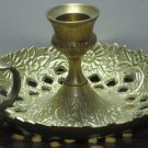 "Brass Chamberstick Candle Holder - 5"" Diameter - Chamber Stick - 1980s Vintage"