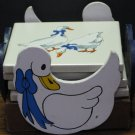 Ceramic or Porcelain Ducks 4 Piece Square Coaster Set and Wood Holder