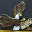 Crater Lake Oregon Bald Eagle on Sign Souvenir Refrigerator Magnet - 4""