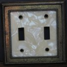 Brass Colored Framed Marble Patterned Double Light Switch Cover Plate
