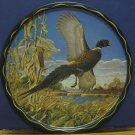 "James L Artig Wildlife 11"" Tin / Aluminum Decorative Platter Pheasant 1960s Vintage"