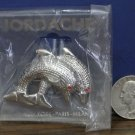 """Jordache Vintage Collector Brooch / Pin - 2 Leaping Dolphins Red Gem Eyes 2"""" New"""