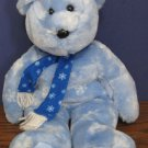 "Ty Beanie Buddies Christmas Bear - Blue with Snowflake Scarf - 13"" - 2002"