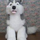 "Chrisha Playful Plush Large Wolf or Husky - Gray and White - 20"" - 1988 Vintage"