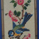 Custom Framed Needlepoint or Cross-Stitch Blue and Yellow Songbird 1970s Vintage