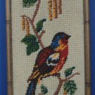 Custom Framed Needlepoint or Cross-Stitch Red Blue Yellow Songbird - 1970s Vintage