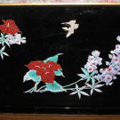 "Toyo Lacquer 18"" x 12"" Serving Tray Floral Pattern Black and Gold 1970s Vintage"