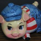 """Ceramic Pig in Overalls Painted Piggy Coin Bank - 6"""" - 1970s / 1980s Vintage"""