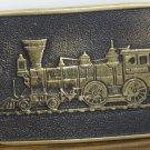 BTS Solid Brass Belt Buckle Railroad Steam Engine Train Locomotive 1978 Vintage