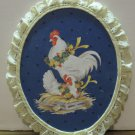 Hand Painted Chickens Wall Plaque Wood with Lace Trim Rooster Hen Chick 1980s Vintage